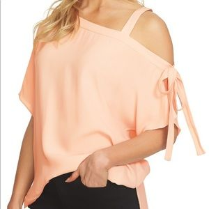 1-State one shoulder tie sleeve blouse